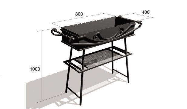 Размеры мангала с крышей для шашлыка